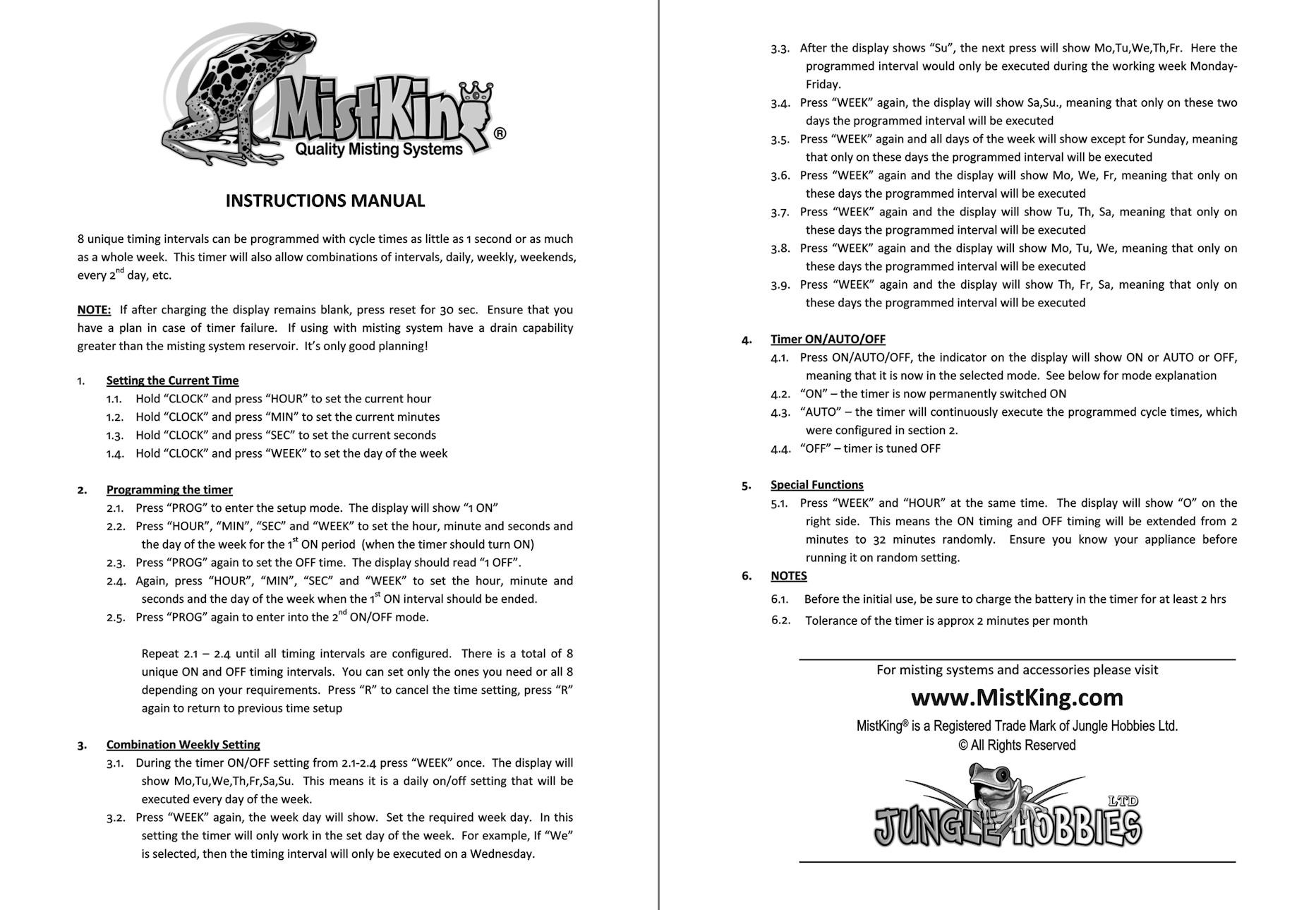 Mistking Instructions
